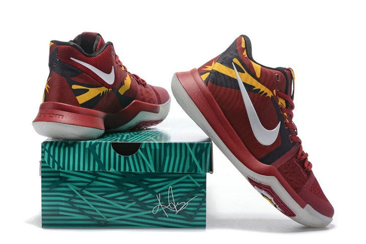 hot sale online fbf73 8764f New Kyrie Shoes Kyrie 3 III Burgundy Gold Cavs Away