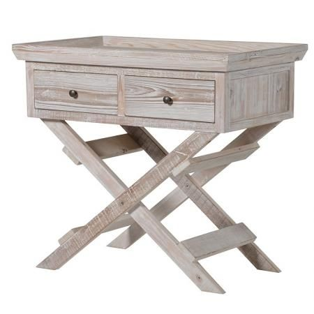 Attractive 2 Drawer Washed Wood Trestle Hall Table