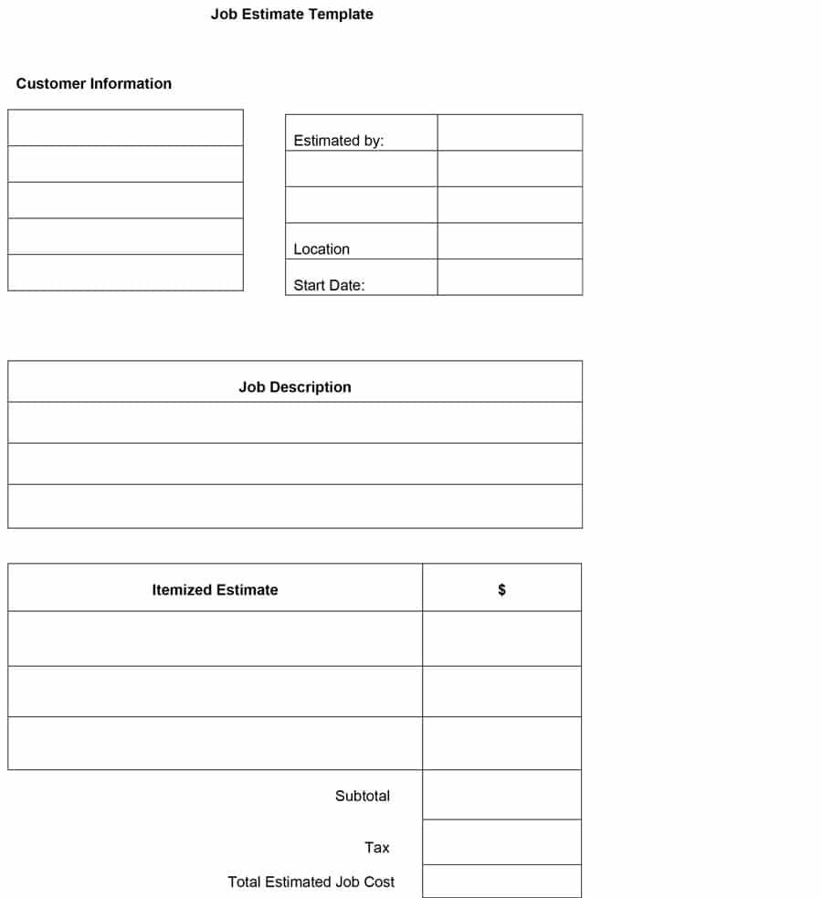 Free Printable Job Estimate Forms Calep Midnightpig Co With Regard To Blank Estimate Form Template Estimate Template Business Card Template Word Templates
