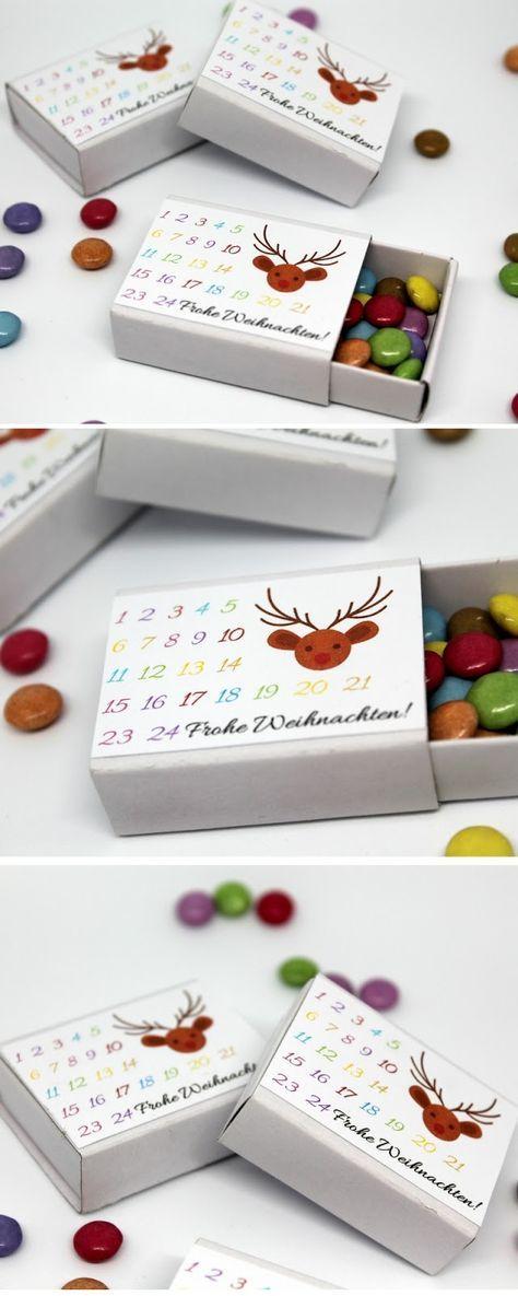DIY Adventskalender in einer Streichholzschachtel selber machen Vorlage #nikolausgeschenkkollegen