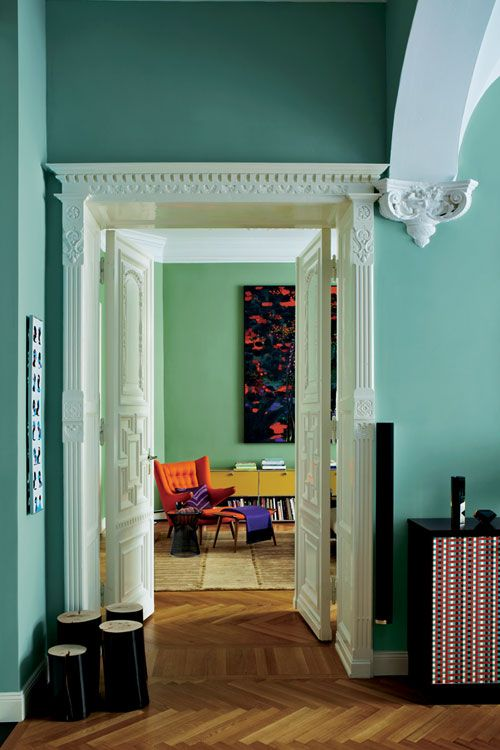 Hall with walls in Dix Blue and Brekfast Room Green Decor Color