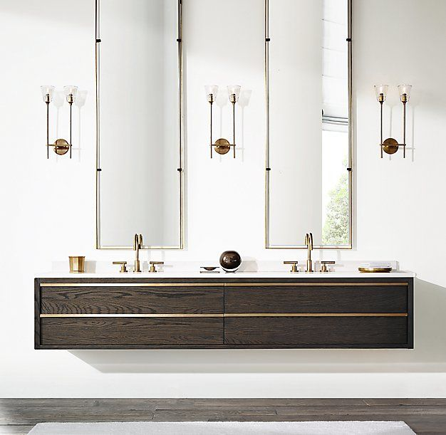 designed long bathrooms. RH Modern s Bezier Double Long Floating Vanity Designed by the Van Thiels  our vanity