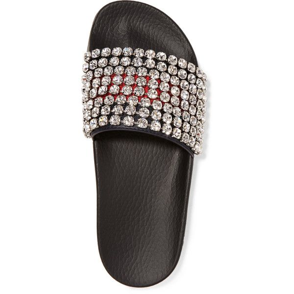 6ecfbcb03a6 Gucci Pursuit crystal-embellished leather and rubber slides (13 670 ZAR) ❤  liked on Polyvore featuring shoes