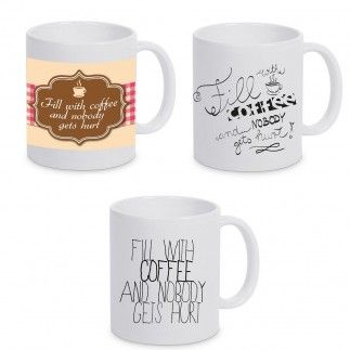 """Kaffeebecher """"Fill with coffee and nobody gets hurt"""""""