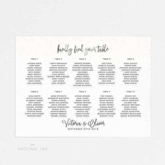 Printable Seating Chart Poster Wedding Seat Chart by INKKprint - printable seating charts