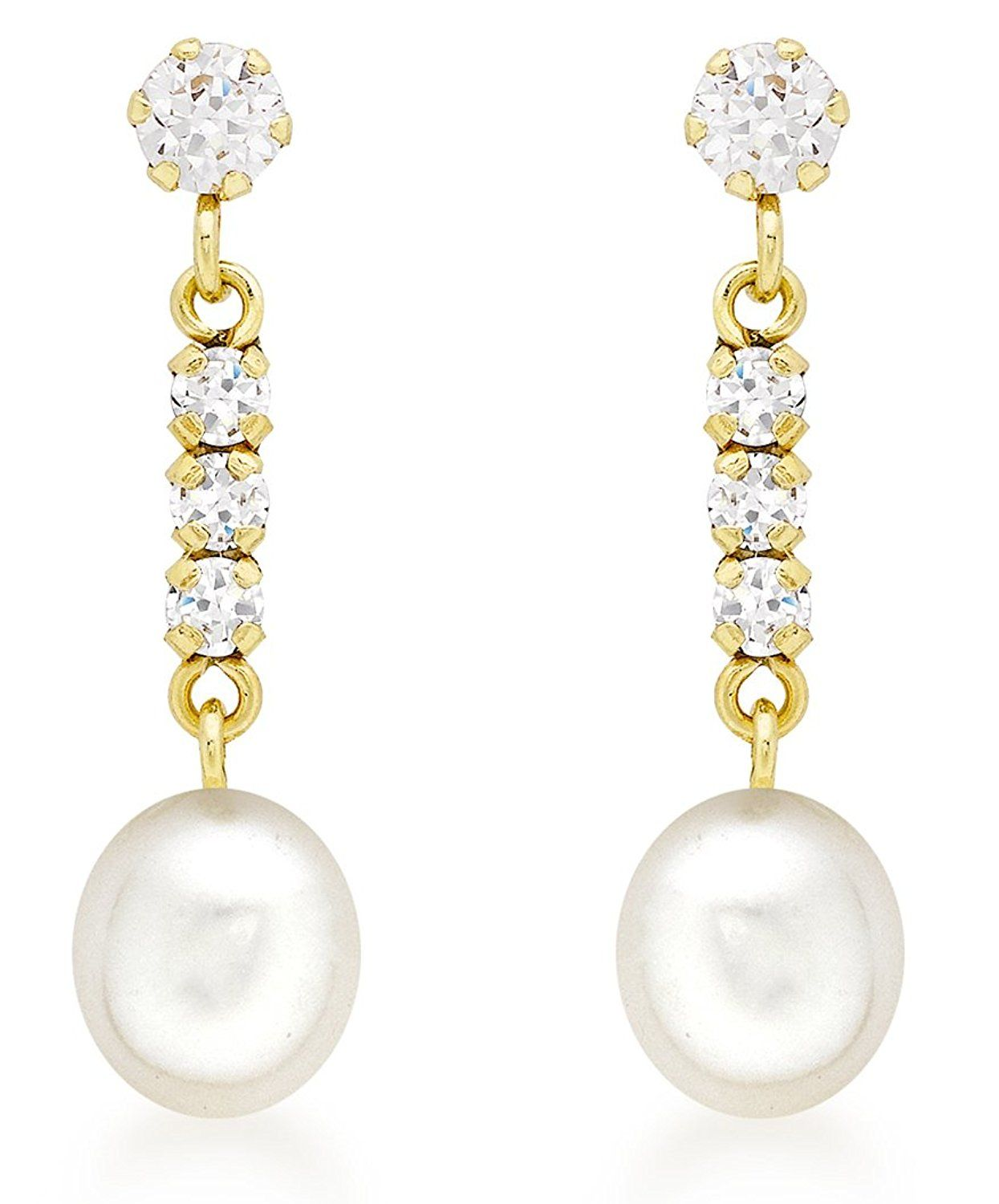 Carissima Gold 9ct White Gold Cubic Zirconia Cluster and Pearl Drop Earrings DGdIS0ou