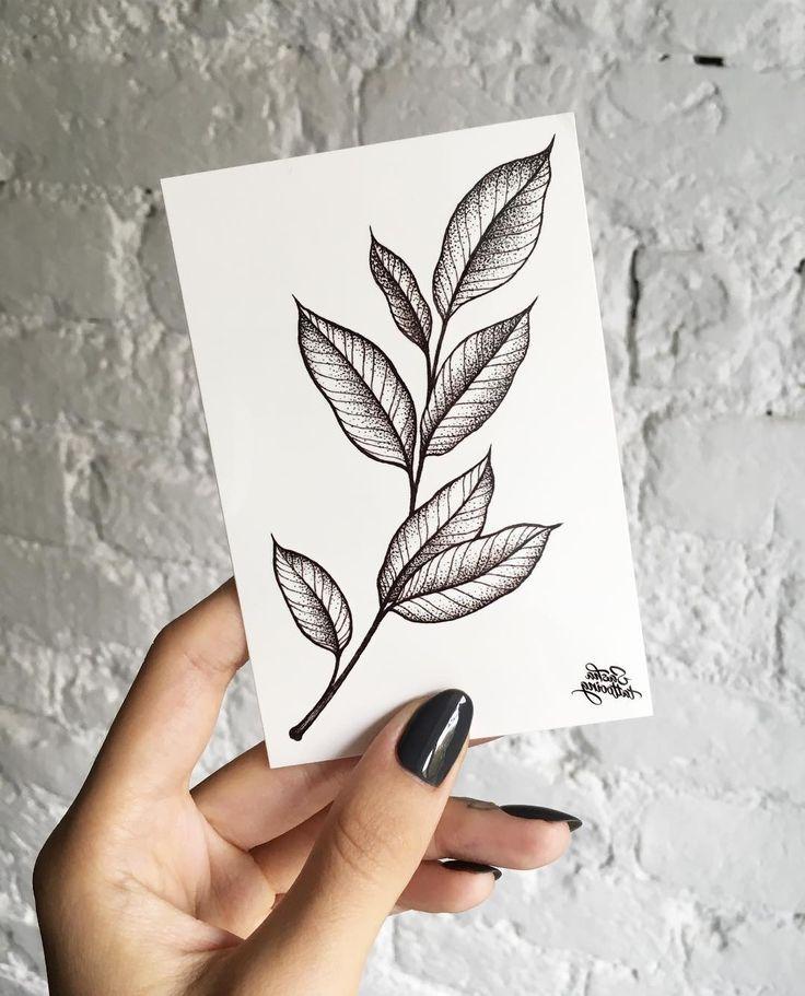 Line Drawing Tattoos Leaf Tattoos Small Tattoos