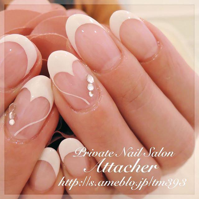 PrivateNailSalon Attacherアタッシェ on Instagram \u201cハートフレンチ♡ ネイルネイルアートネイルデザイン ネイルサンプルホワイトフレンチホワイトネイル