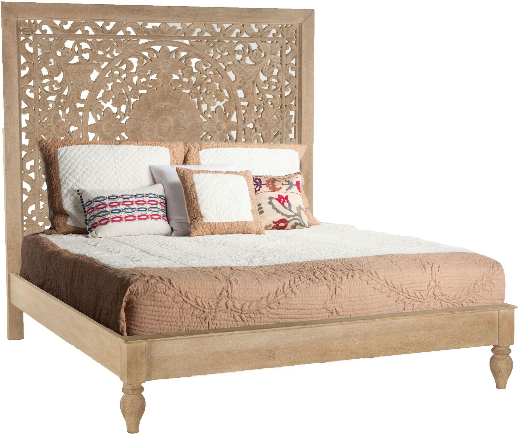 Haveli Whitewashed King Platform Bed King Platform Bed Furniture King Beds