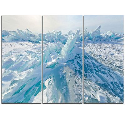 Designart Blue Ice Hummocks In Siberia Lake Baikal 3 Piece Graphic Art On Wrapped Canvas Set Design Art Canvas Set Triptych Canvas