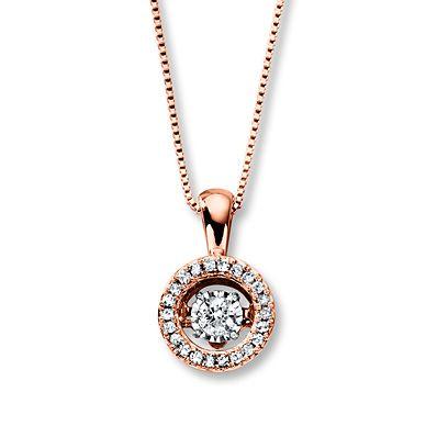 Diamonds In Rhythm 1 5 Ct Tw Necklace 10k Rose Gold Jewelry By Brand Heart Pendant Diamond Diamond Pendant
