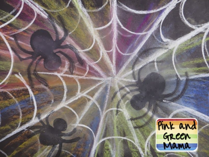Colorful-chalk-spiderwebs-great-for-school-classroom-art-project-for-kids