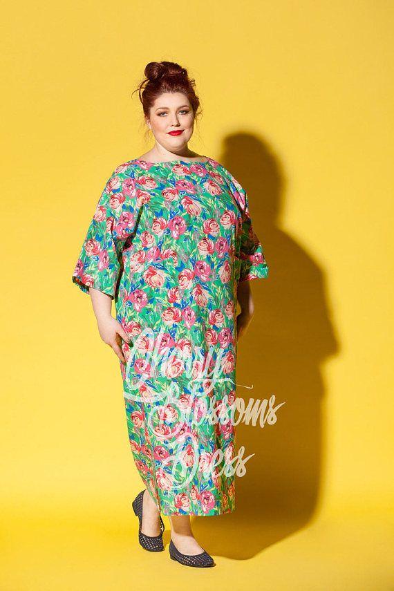 Floral maxi dress/ Plus size Cotton dress/ Plus size dress/