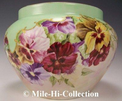 Limoges Hand Painted Pansies Vase Jardiniere | eBay