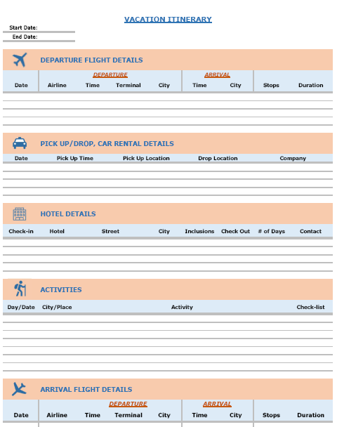Vacation Itinerary  Packing List Template In Excel  Planificador