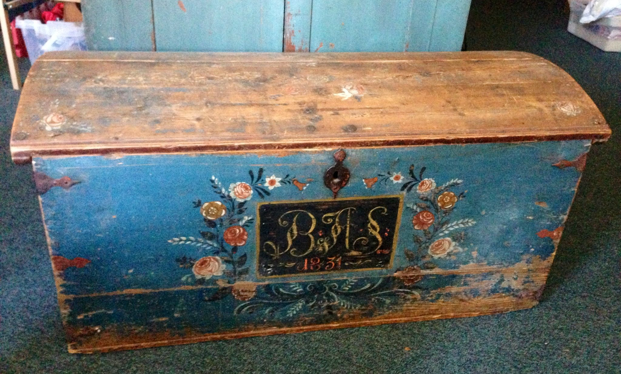 Antique Swedish Trunk From 1831