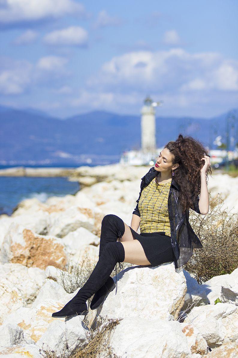 Light house feelings, yellow dress, overknee boots