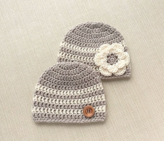ae05e91ab Crochet Hats for Twin Boy and Girl 0 to 12 month old Baby Beanie ...