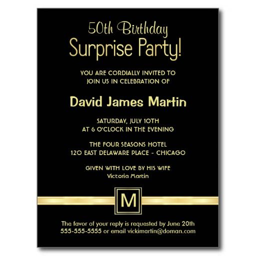 Surprise 50th Birthday Party Invitations Wording Free Printable