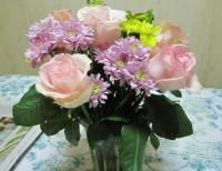 Peachy pink roses and purple and yellow flowers arrangement picture peachy pink roses and purple and yellow flowers arrangement pictureg mightylinksfo Gallery