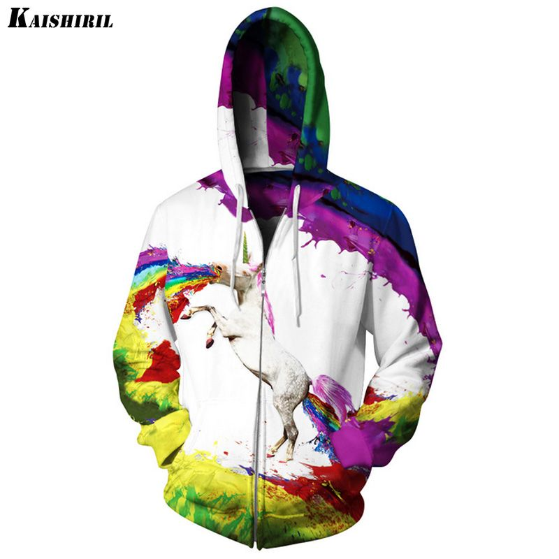 0bf1a3d4f95e KAISHIRIL 3D Hoodies Sweatshirt Men Novelty Harajuku Unicorn Horse Rainbow Hip  Hop Hoodie Brand S-
