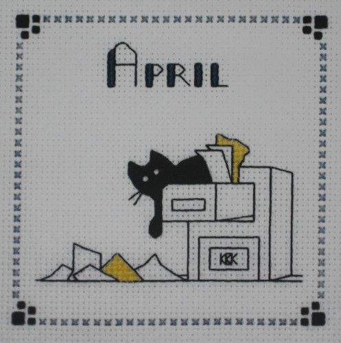 $12.00 Custom Pre Order Cross Stitch Kats By Kelly April Office Temp Stitched by CrossStitchCards
