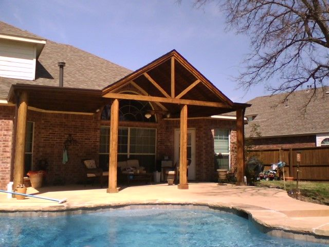 Patio covers patio covers 10b gable cedar framed patio for Gable patio designs