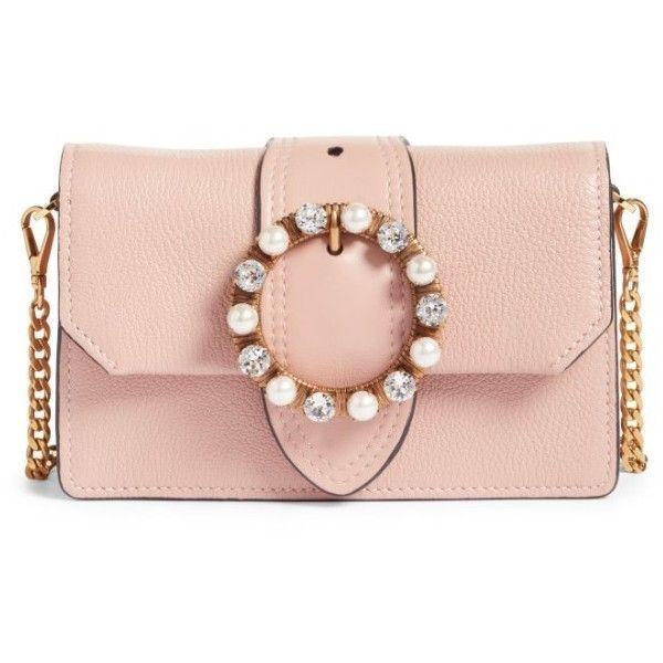 Women s Miu Miu Lady Madras Crystal Embellished Leather Crossbody Bag  (2 e8317e8cb55cf