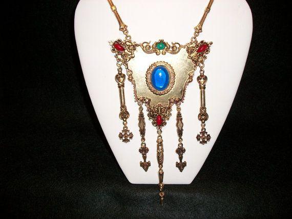 Vintage Elaborate Accessocraft NYC Victorian Style  Necklace-Gold. Circa 1940's