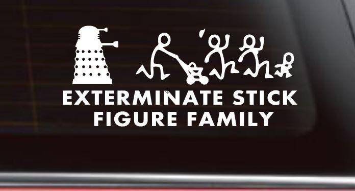 Dalek stick figure dr who car decal tardis car decal tardis sticker whovian sticker doctor who