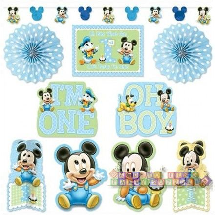 mickey mouse 1st birthday room decorating kit (10pc) | baby mickey