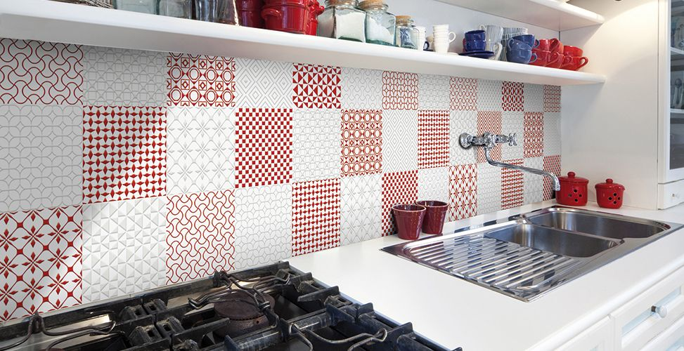 Selection porcelain tile- Red on White, White on White: Stone Source ...