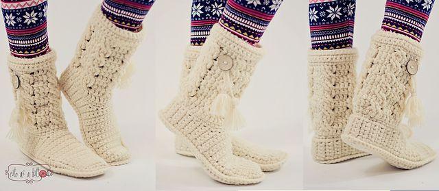 Cute-as-a-button Crochet Boots by Cute as a button Jennifer Reid ;  Suggested yarn Schachenmayr nomotta Bravo