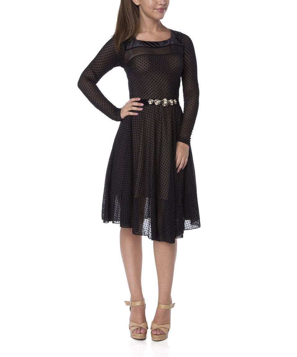 27dc157f17c4 This FX Missony Black Pin Dot A-Line Dress by FX Missony is perfect!   zulilyfinds
