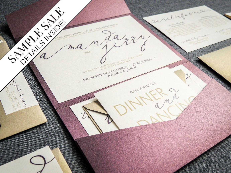 Modern Wedding Invitations, Purple Wedding Invitation Set ...