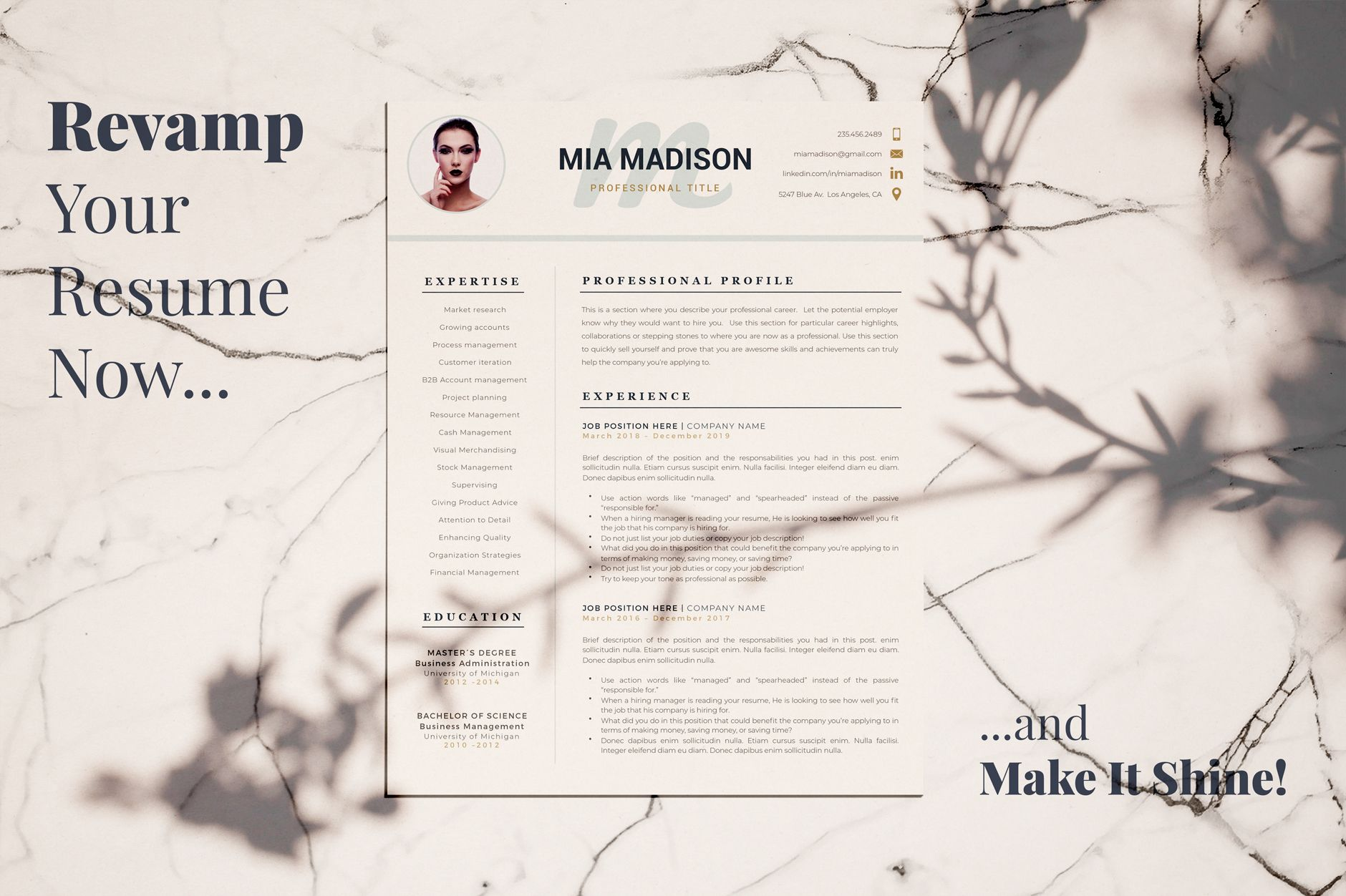 R48 Mia Madison Clean Resume Template Creative Resume Format With Photo For Ms Word Pages Resume Cv With Picture Free Cover Letter Format And Refe