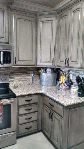aspen grey birch kitchen cabinets instock | Color Inspiration - Valspar aspen gray with black glaze ...