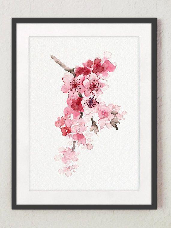 Delightful Kirschblüte Blumen Set Von 4 Aquarell Drucke Pink Home Decor