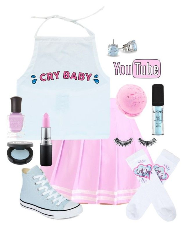 """""""Cry baby cuz YEAHH"""" by citykitty1234 ❤ liked on Polyvore featuring UNIF, Napoleon Perdis, MAC Cosmetics, Converse, Allurez, Deborah Lippmann and FACE Stockholm"""
