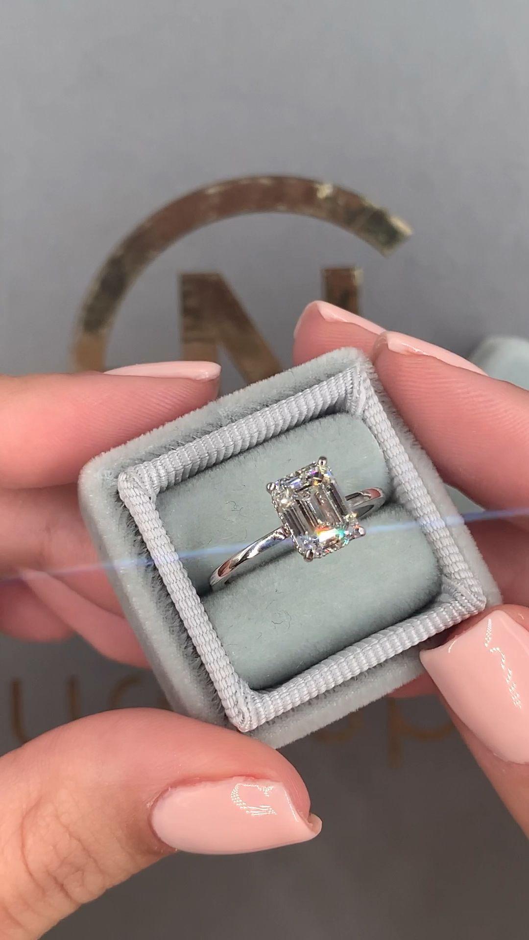 Anillo de compromiso de diamantes 2.17 quilates Anillo de diamantes talla esmeralda | Etsy