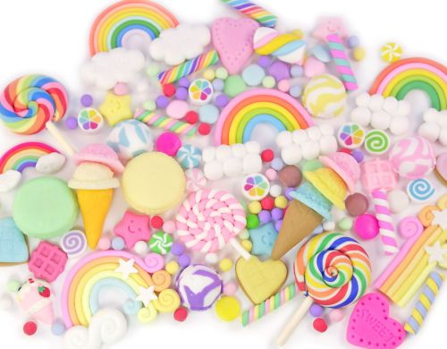 CLAY-Cabochon-Sprinkles-Rainbow-Mix-Set-Decoden-Kawaii-Craft-CHOOSE-PACK-SIZE