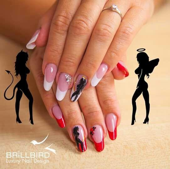 Good Vs Evil Angel Nails Nails Nail Art