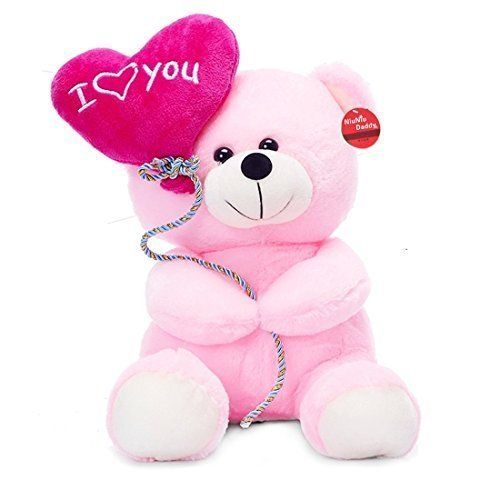 Niuniu Daddy 13 8 I Love You Teddy Bear Pink Plush Toy With