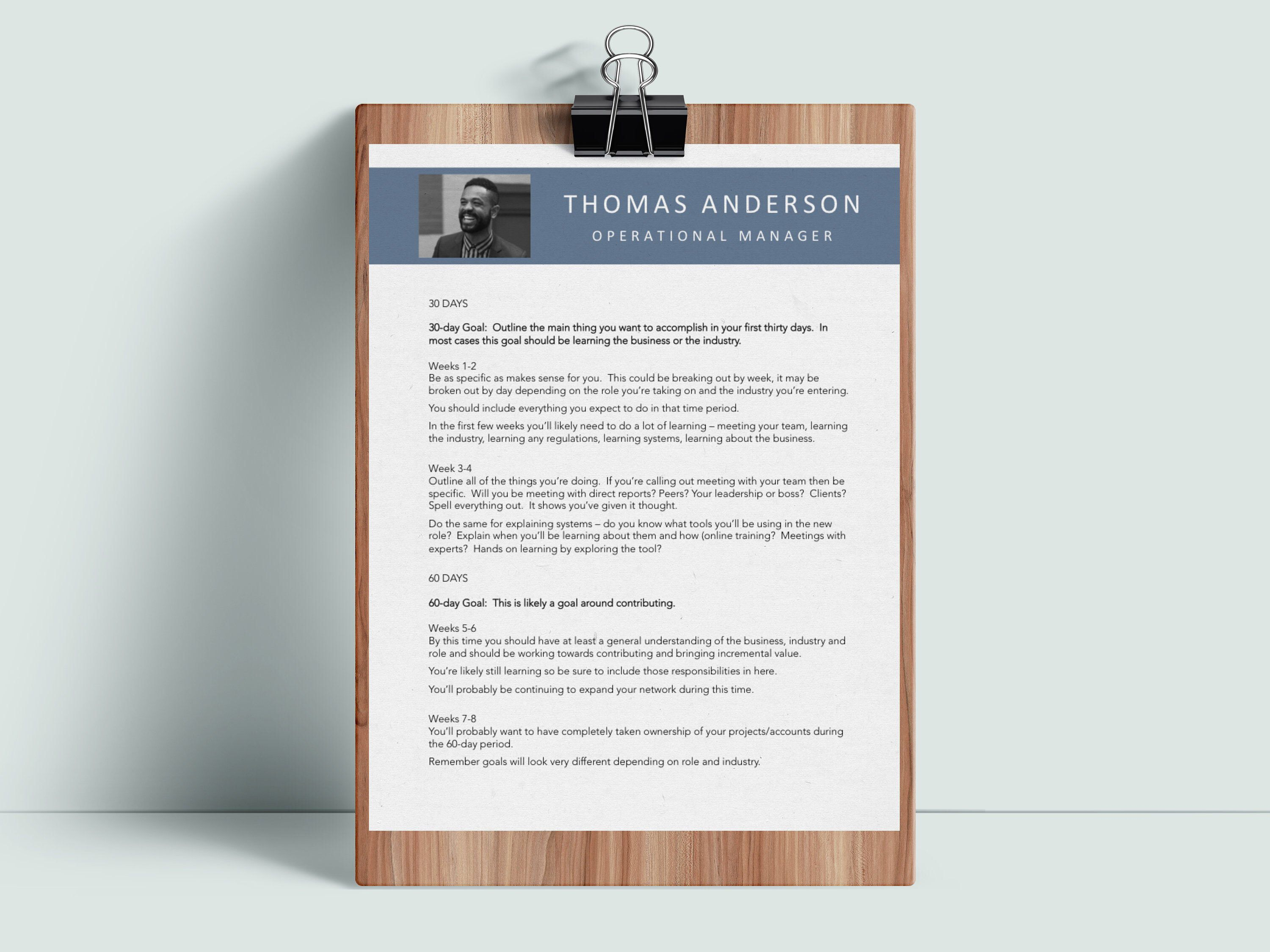 Photo Template For 30 60 90 Day Plan With Instructions To Update Digital Download For Interviewing And New Job 90 Day Inte 90 Day Plan Day Plan How To Plan