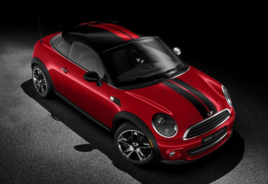 The Sporty Cooper Coupe In Chili Red With Contrasting Sport Stripes