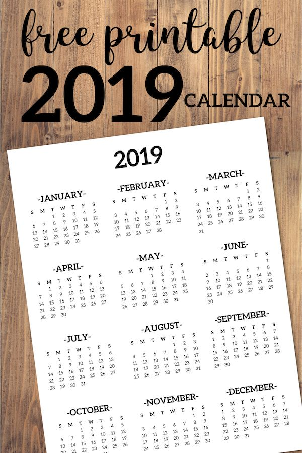 Calendar 2019 Printable One Page DIY and crafts Pinterest