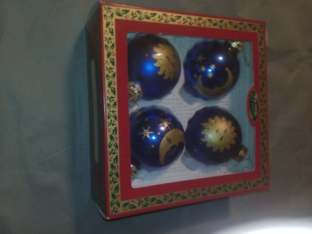 4 Wunderschöne alte Christbaumkugeln!Gebraucht (Wie Neu)!Blau /Gold!Endet jetzt!