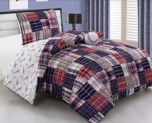 3 Piece Baseball Sports Theme Plaid Red White And Blue Comforter Set Twin Size Bedding Works Well In Yo Baseball Themed Bedroom Comforter Sets Blue Comforter