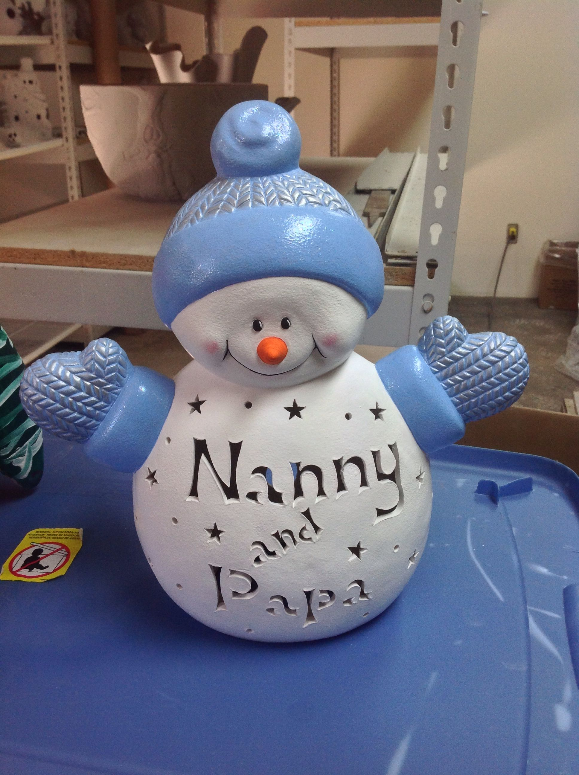 Personalized Ceramic Snowman With Your Name Bisque Not Painted Sells For 25 00 Painted 40 00 Call And Place Your Order Now Ceramics Snowman Crafts