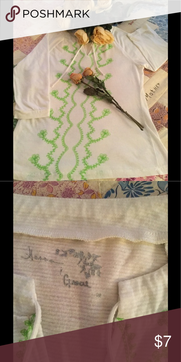 Top White soft cotton tee material,lime green detail down the front, 3/4 sleeve length, loose tie neck line. Tops Tunics